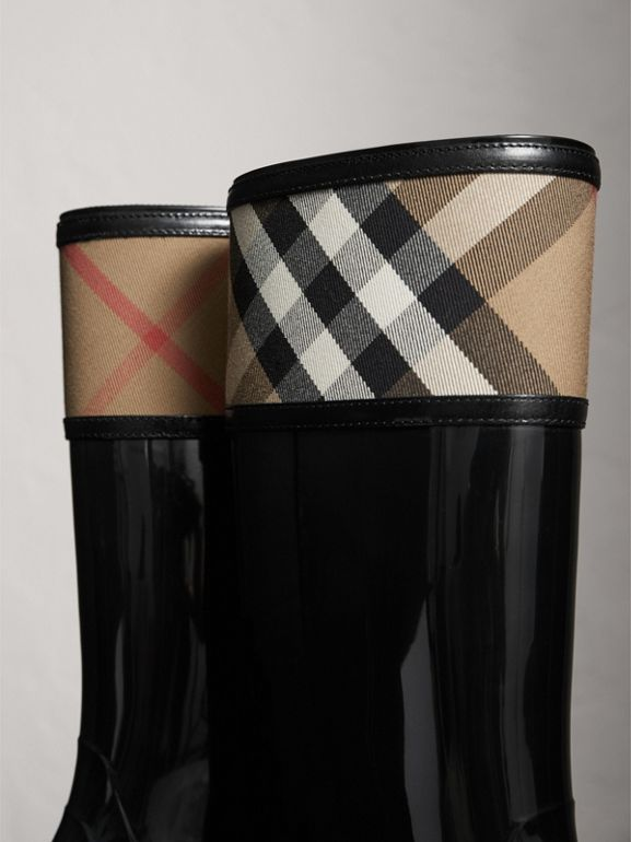 House Check Rain Boots in Black - Women | Burberry - cell image 1