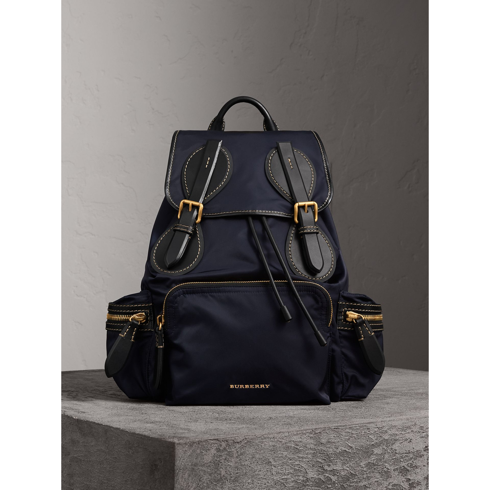 The Large Rucksack in Technical Nylon and Topstitched Leather in Dark Navy - Men | Burberry - gallery image 4