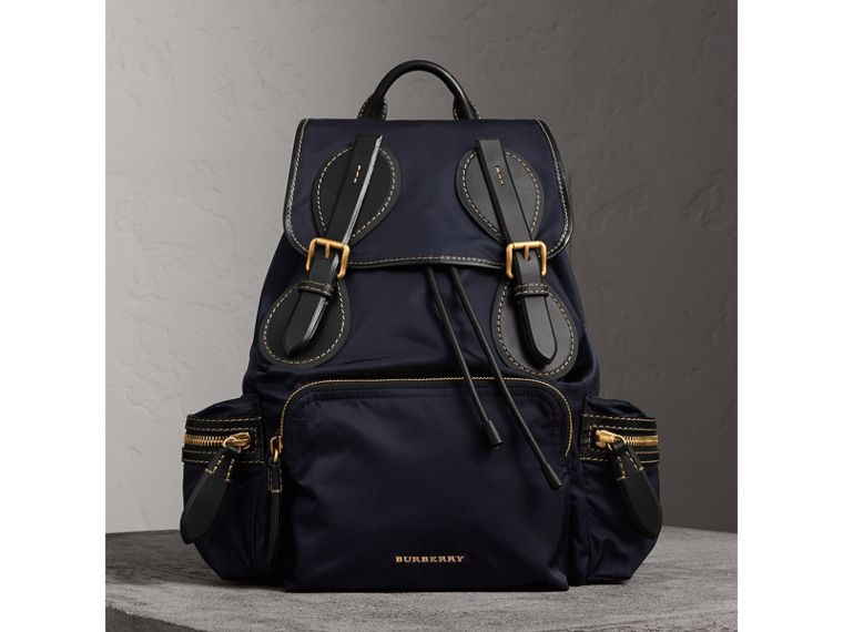 The Large Rucksack in Technical Nylon and Topstitched Leather in Dark Navy - Men | Burberry - cell image 4