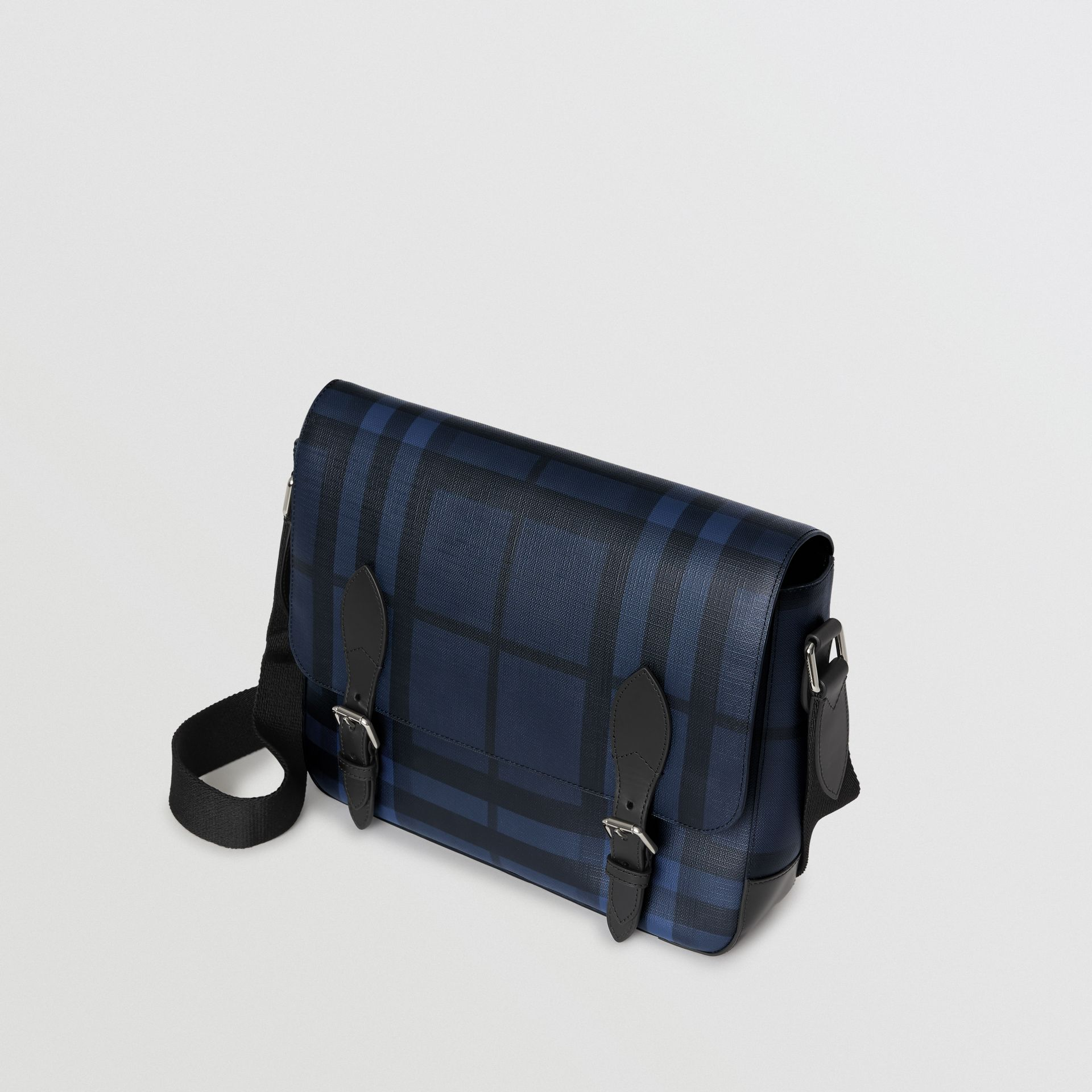 Medium Leather Trim London Check Messenger Bag in Navy/black - Men | Burberry Singapore - gallery image 4