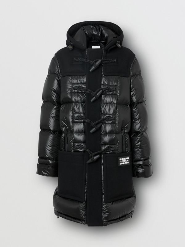 Technical Wool Detail Puffer Duffle Coat in Black - Men | Burberry - cell image 3