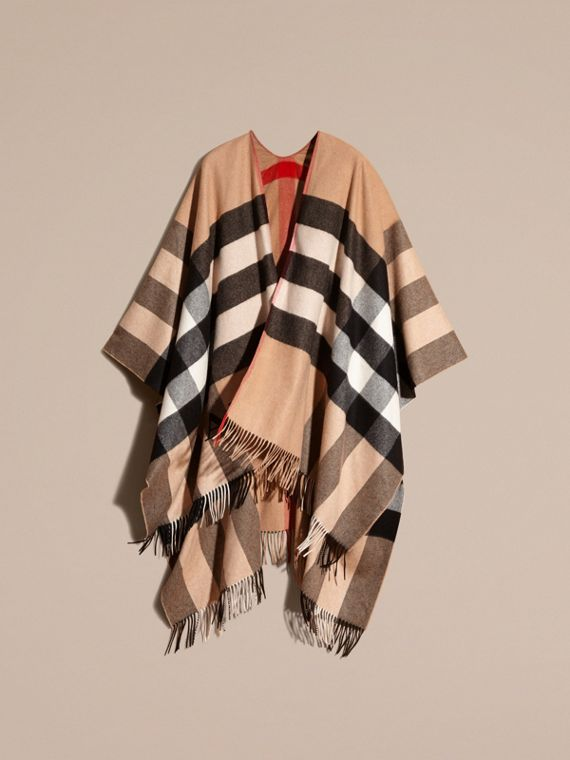 Camel Check Cashmere Poncho - cell image 3
