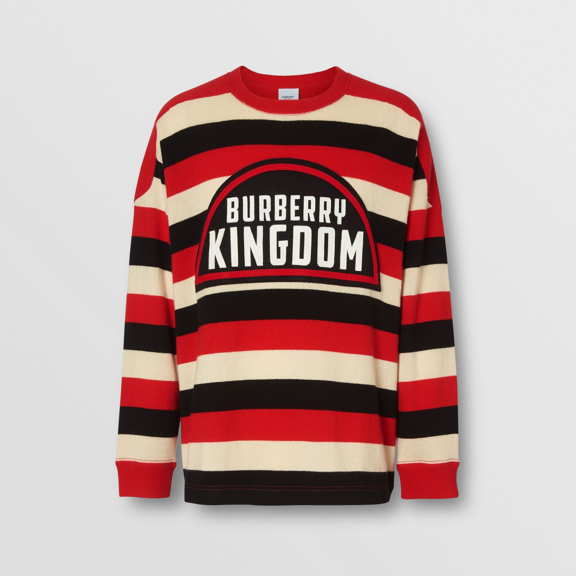 Kingdom Detail Striped Cashmere Sweater in Bright Red - Men | Burberry - gallery image 3