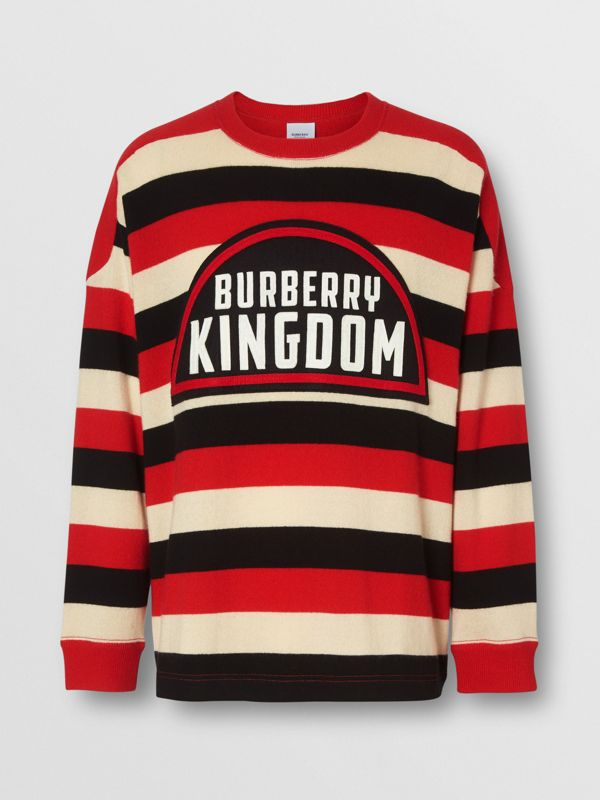 Kingdom Detail Striped Cashmere Sweater in Bright Red - Men | Burberry - cell image 3