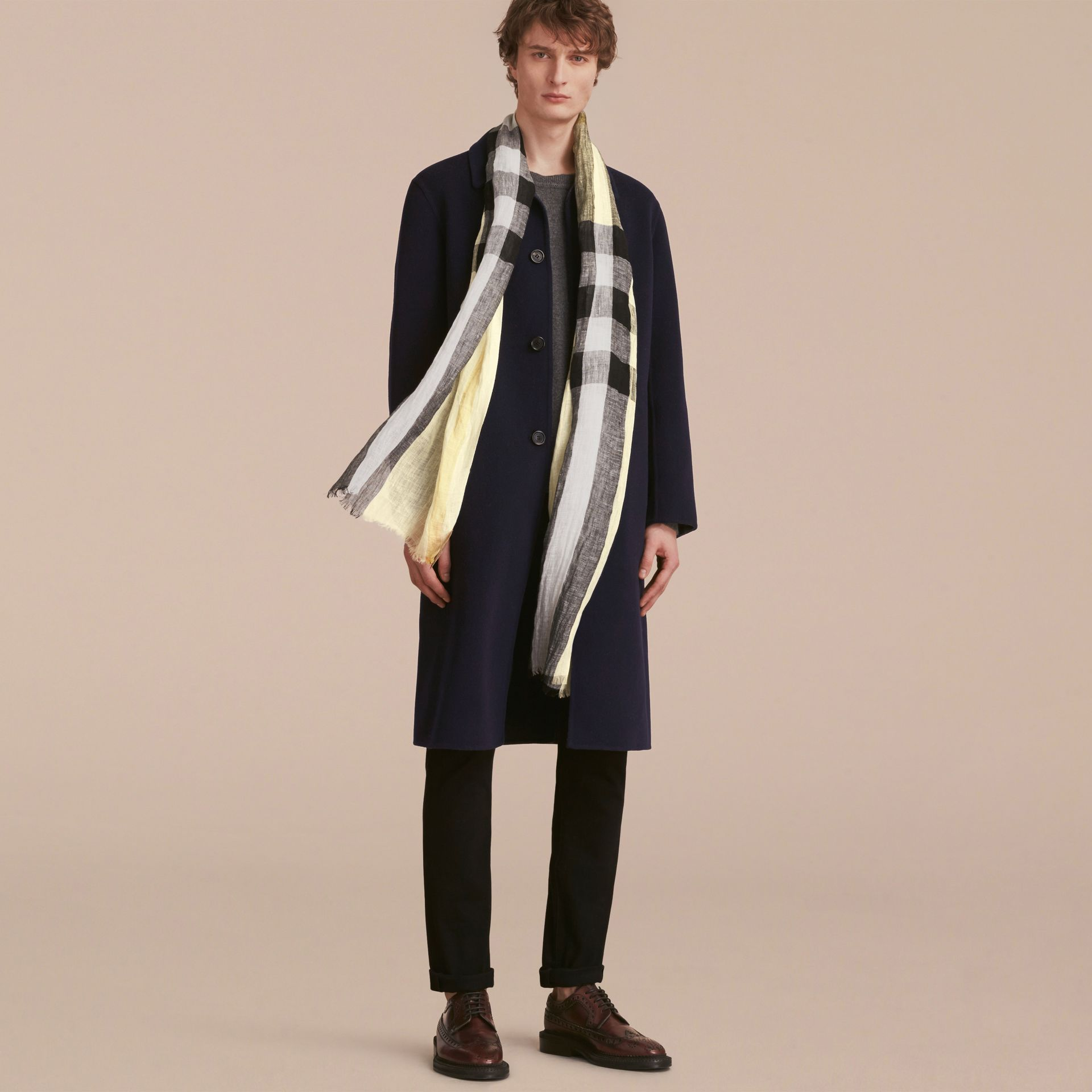 Lightweight Check Linen Scarf in Chalk Yellow | Burberry - gallery image 3