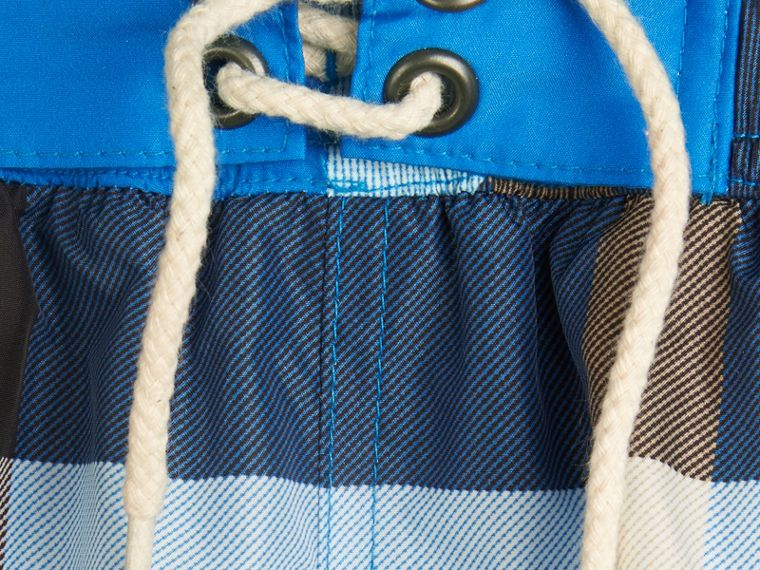 Check Swim Shorts in Cerulean Blue - cell image 1