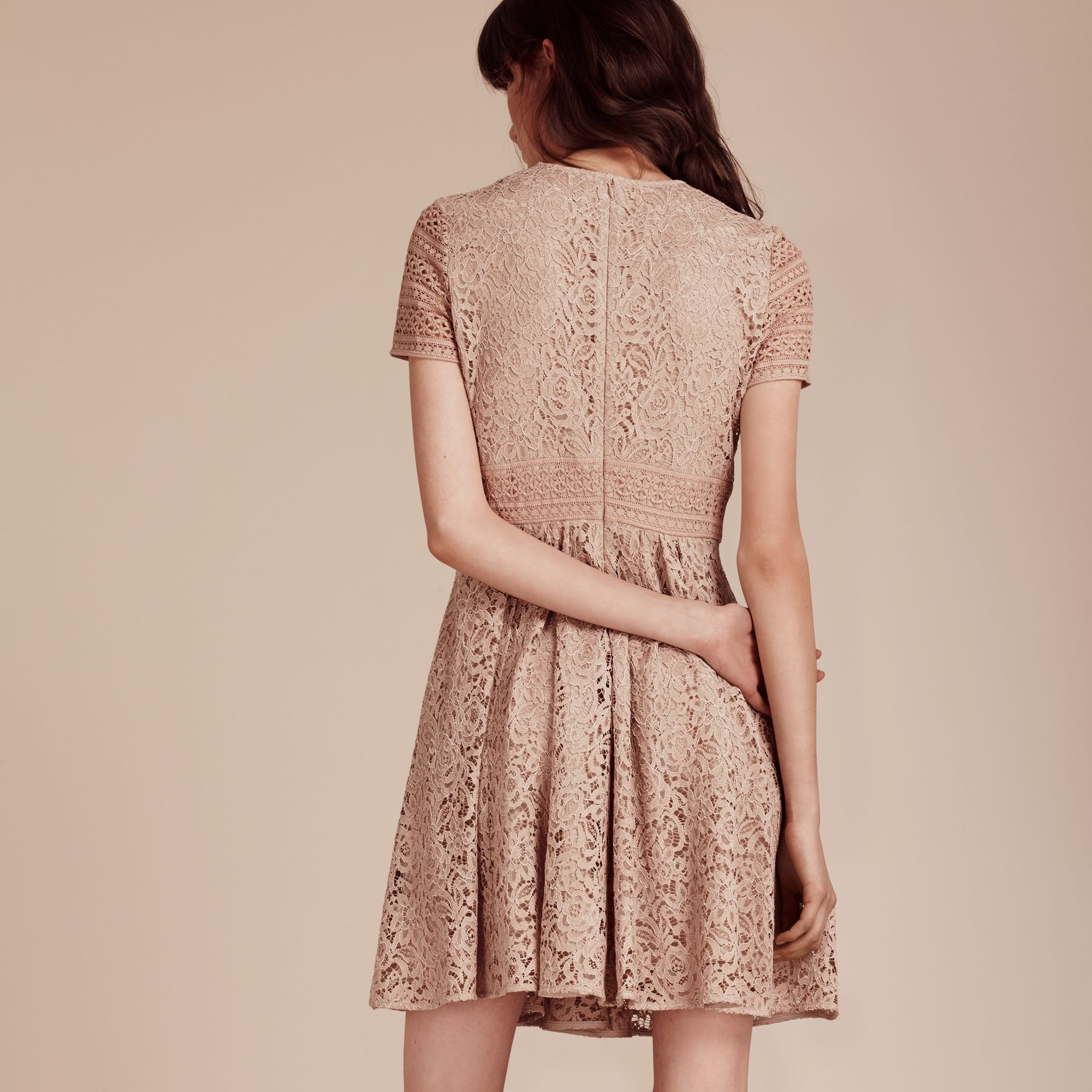 Antique taupe pink Floral and Mesh Lace Dress - gallery image 5
