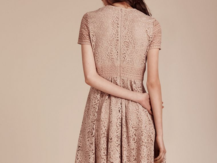 Antique taupe pink Floral and Mesh Lace Dress - cell image 4