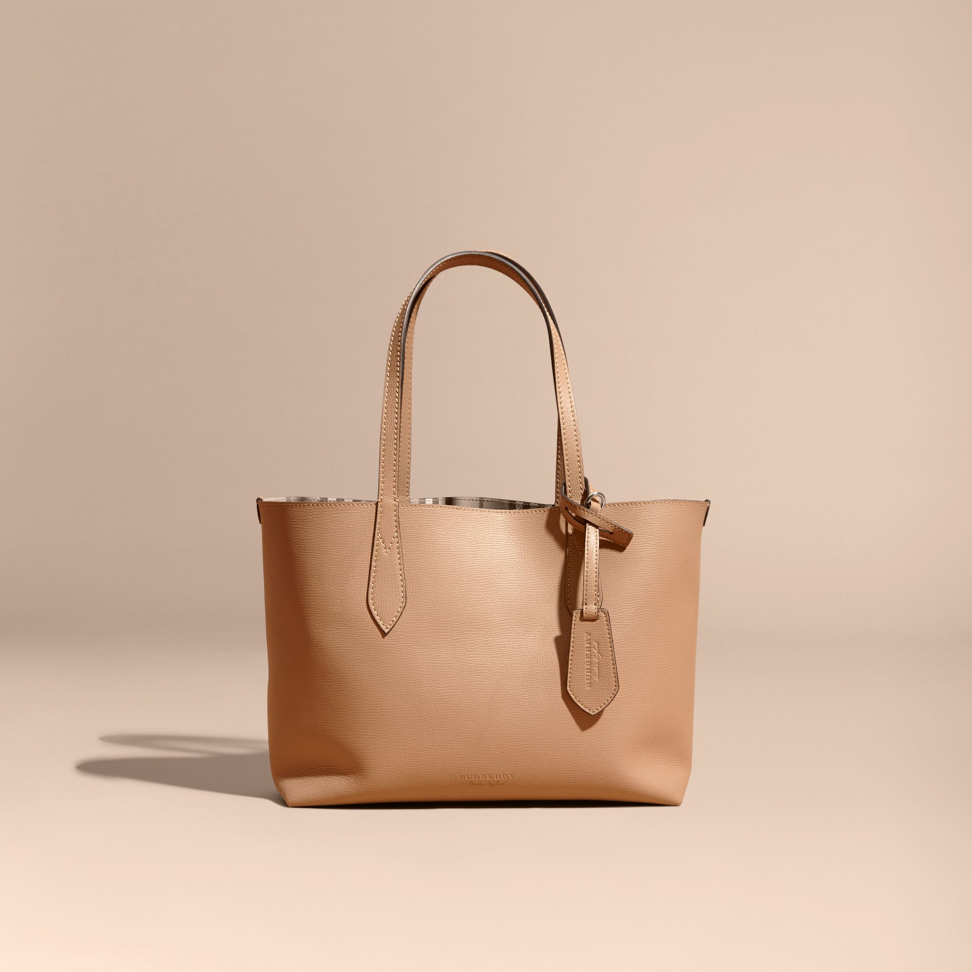 The Small Reversible Tote in Haymarket Check and Leather Mid Camel - gallery image 9