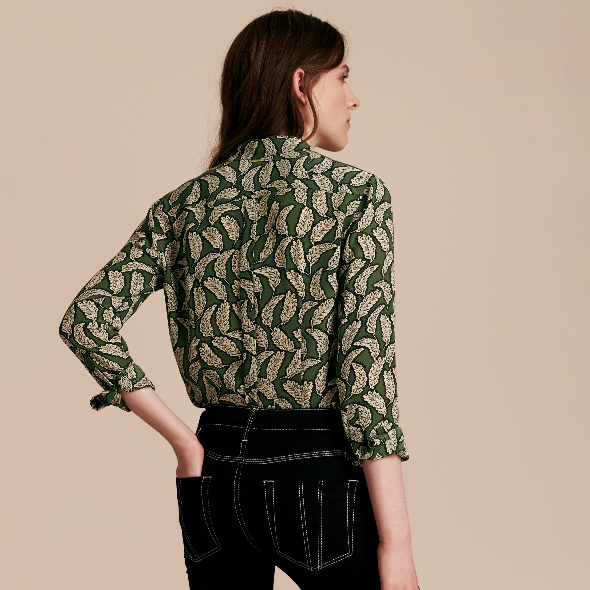 Dusty green Leaf Print Silk Shirt Dusty Green - gallery image 3