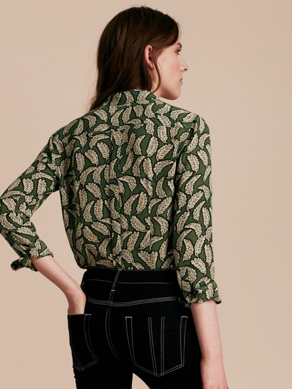 Dusty green Leaf Print Silk Shirt Dusty Green - cell image 2