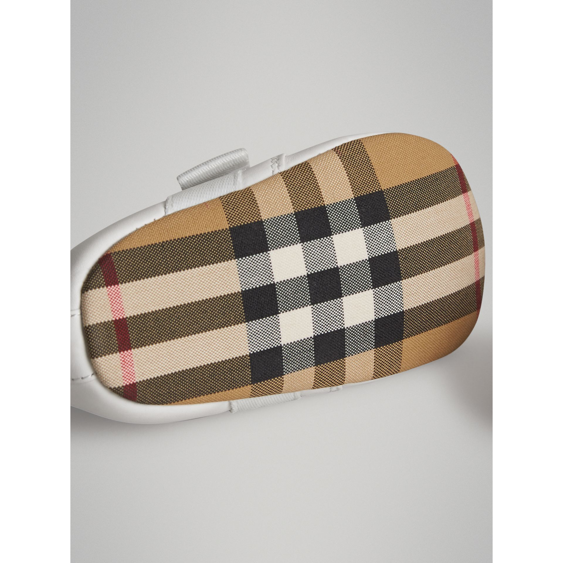 Leather and Vintage Check Shoes in Optic White - Children | Burberry United Kingdom - gallery image 1