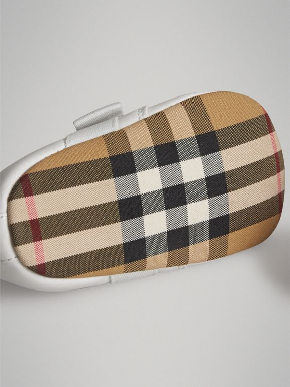 Leather and Vintage Check Shoes in Optic White - Children | Burberry - cell image 1