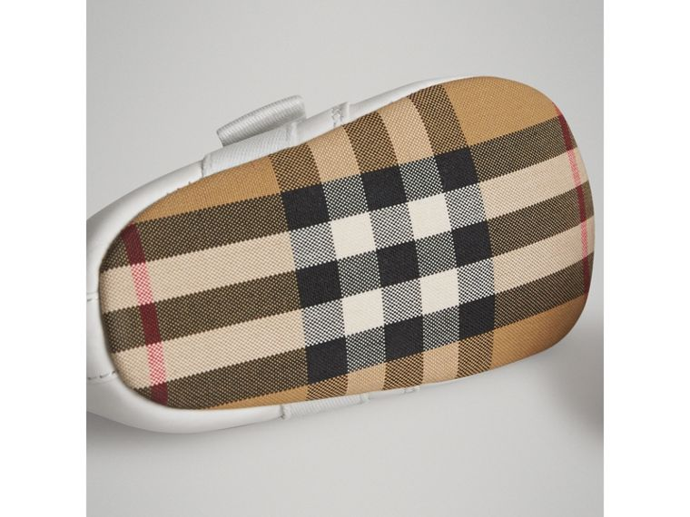 Leather and Vintage Check Shoes in Optic White | Burberry - cell image 1