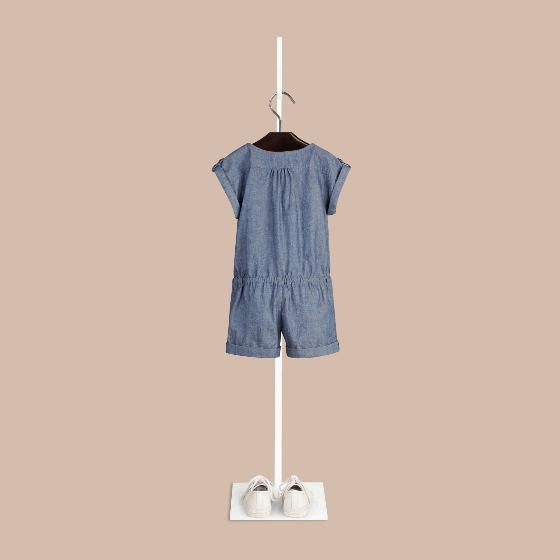 Stone blue Check Placket Cotton Playsuit - gallery image 2
