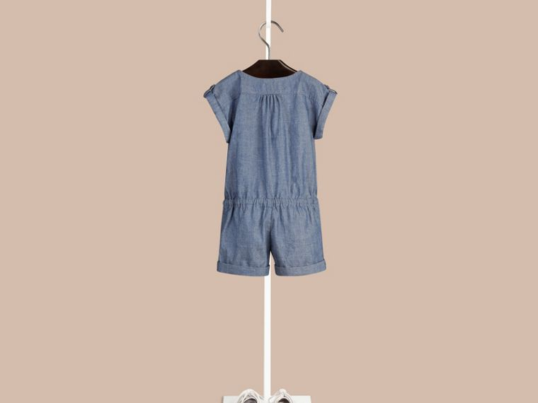 Stone blue Check Placket Cotton Playsuit - cell image 1