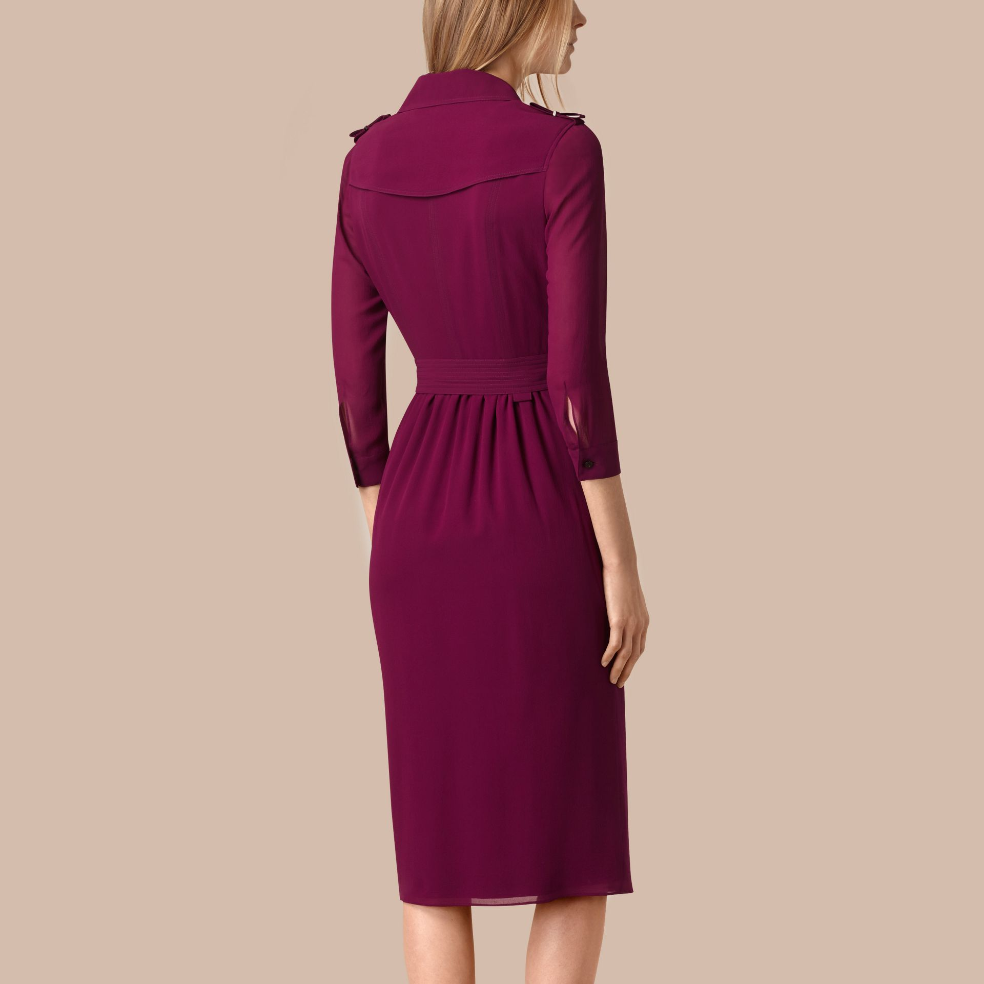 Silk Wrap Trench Dress in Bright Burgundy - Women | Burberry - gallery image 3