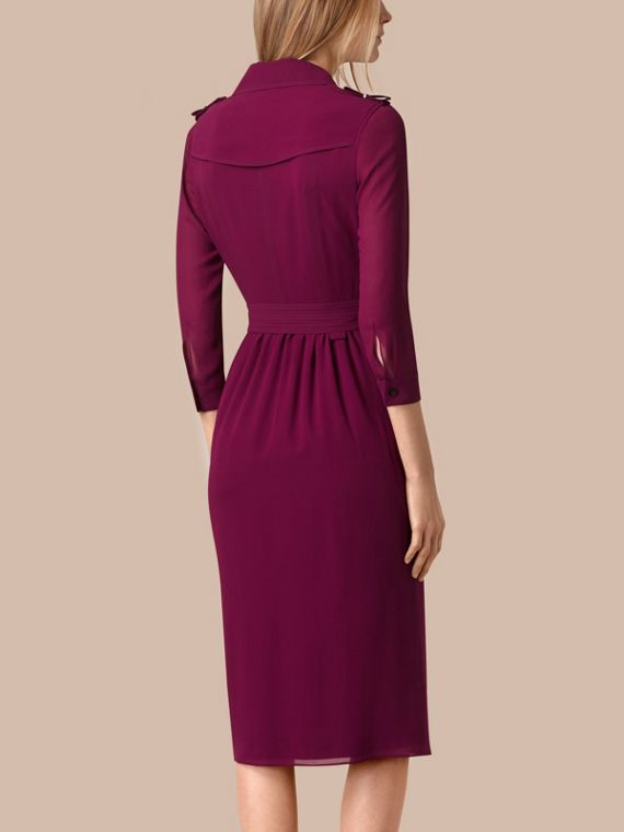 Silk Wrap Trench Dress in Bright Burgundy - cell image 2
