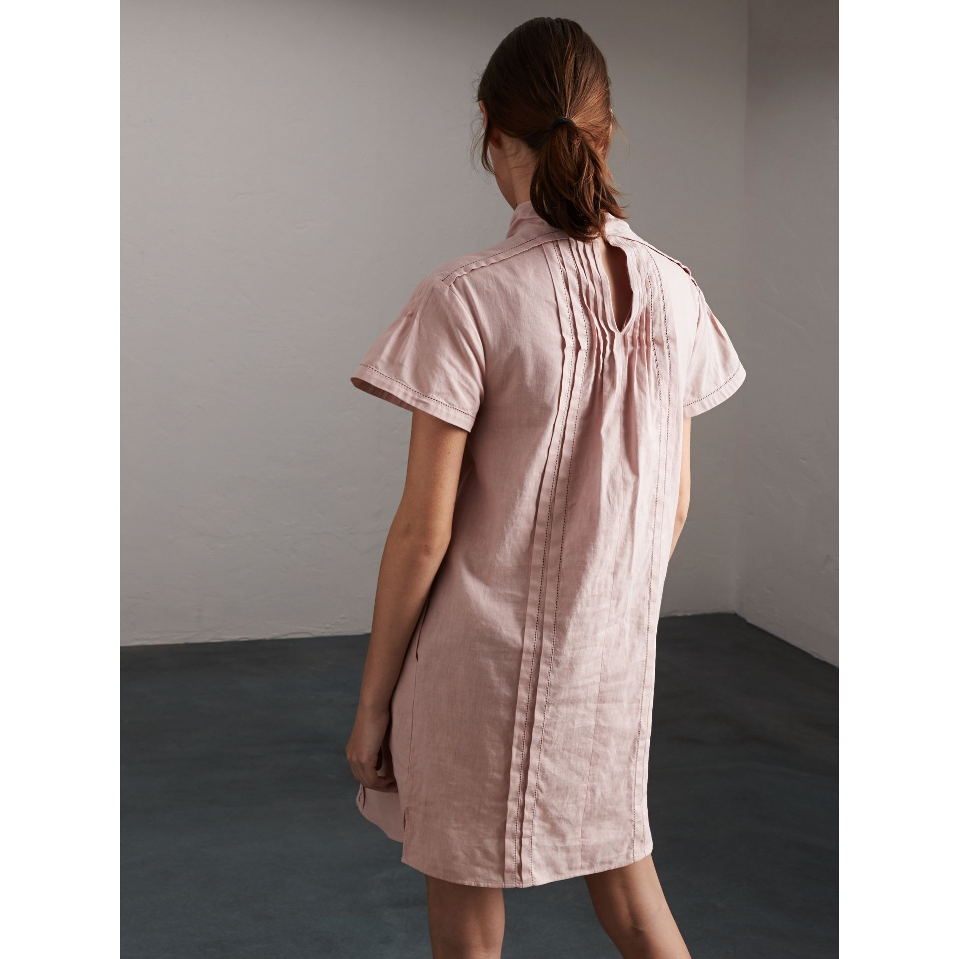 Pintuck Pleated Linen Cotton Dress in Thistle Pink - Women | Burberry - gallery image 2