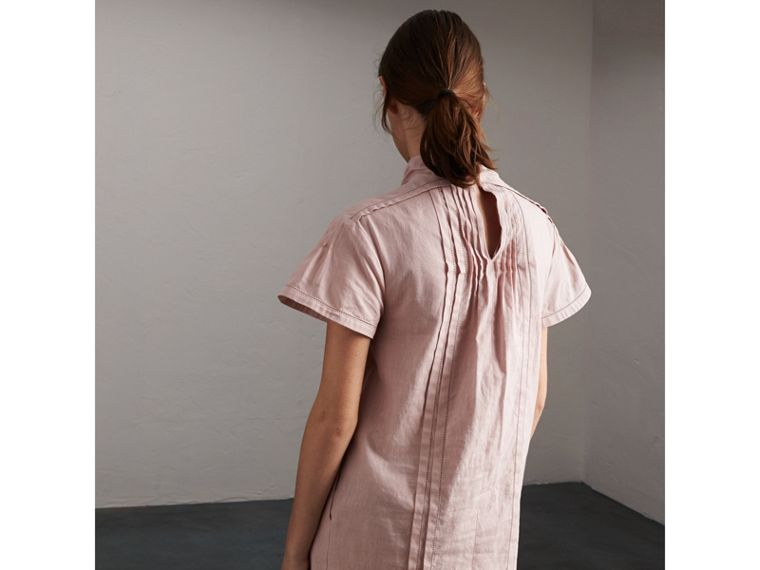 Pintuck Pleated Linen Cotton Dress in Thistle Pink - Women | Burberry - cell image 1