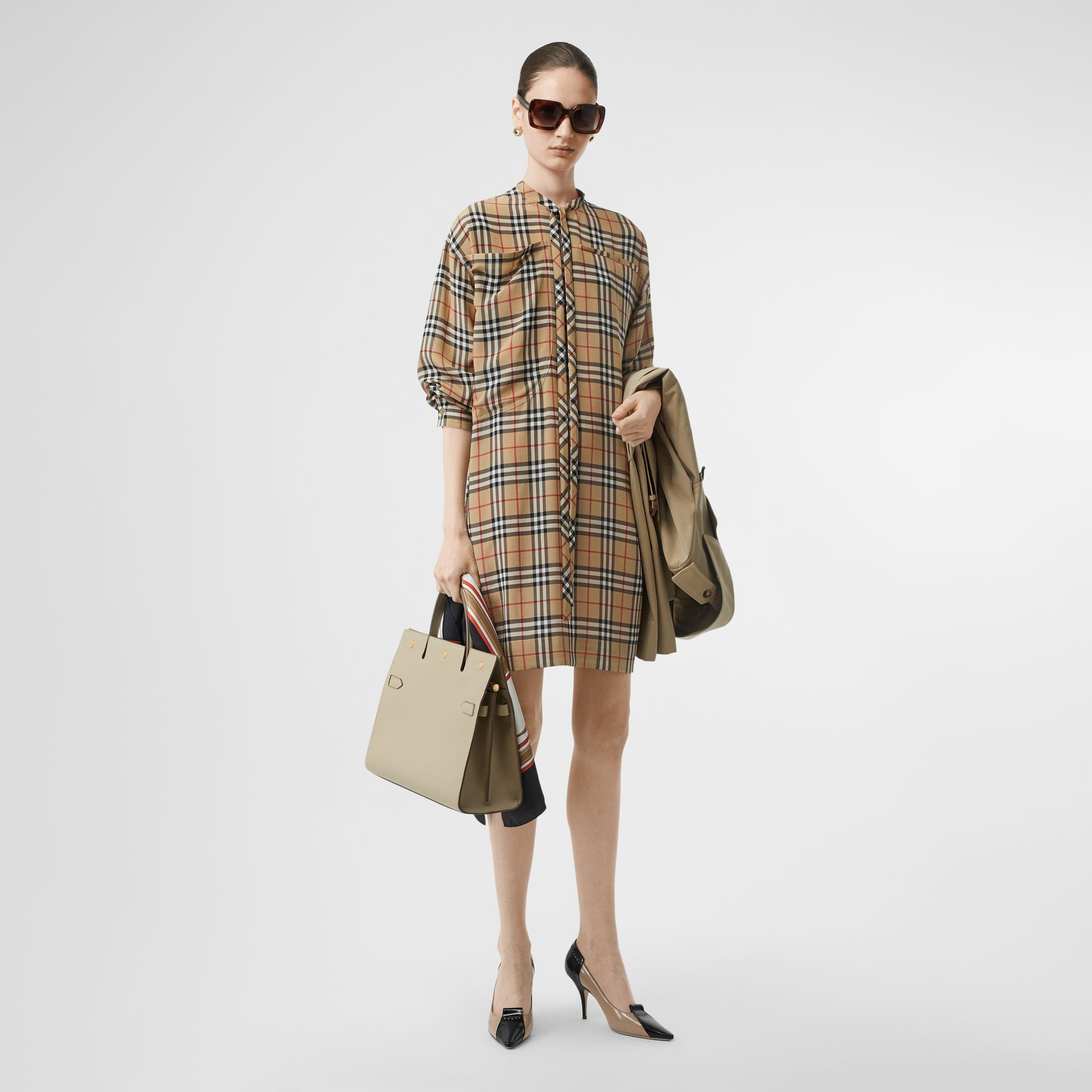 Vintage Check Silk Tie-neck Dress in Archive Beige - Women | Burberry - gallery image 0