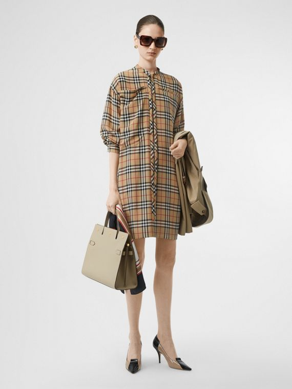 Vintage Check Silk Tie-neck Dress in Archive Beige
