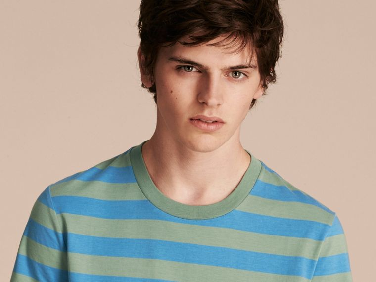 Striped Cotton T-Shirt Eucalyptus Green/chalk Blue - cell image 4