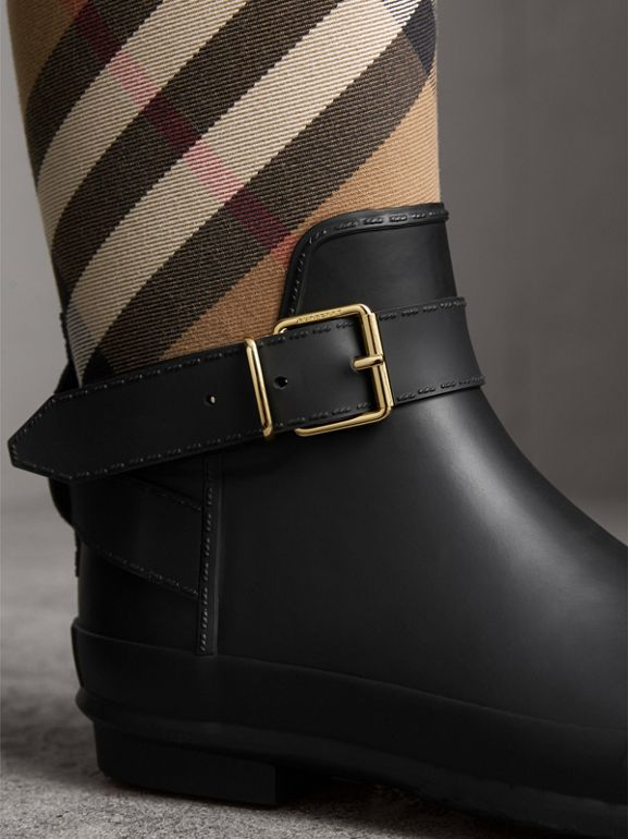 Belt Detail Check and Rubber Rain Boots in House Check/black - Women | Burberry - cell image 1