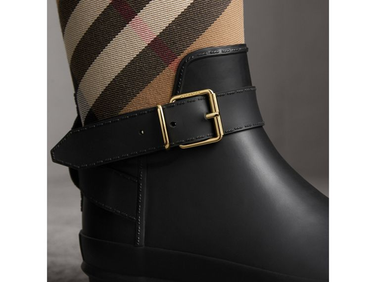 Belt Detail Check and Rubber Rain Boots in House Check/black - Women | Burberry Canada - cell image 1