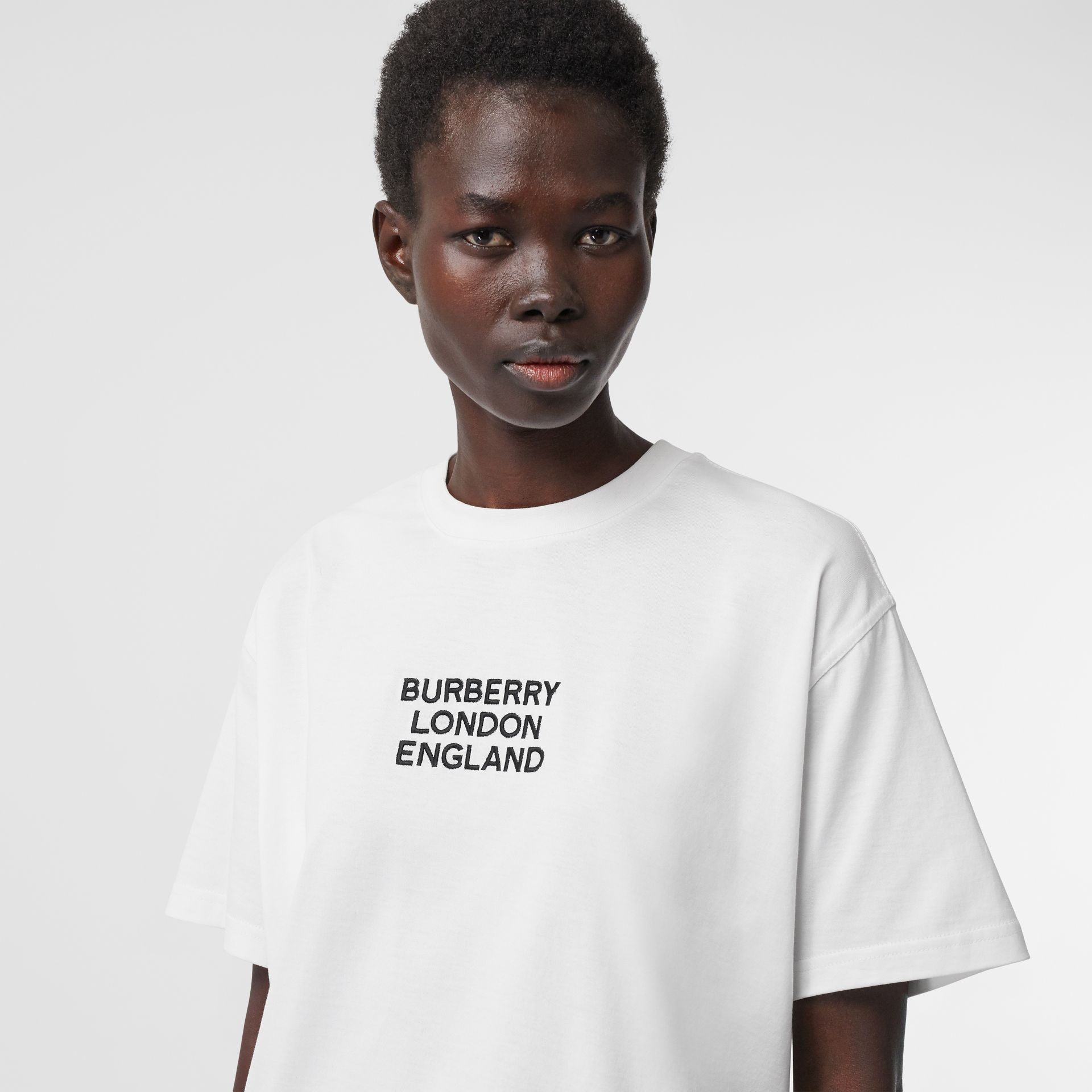 Embroidered Logo Cotton Oversized T-shirt in White - Women | Burberry - gallery image 1