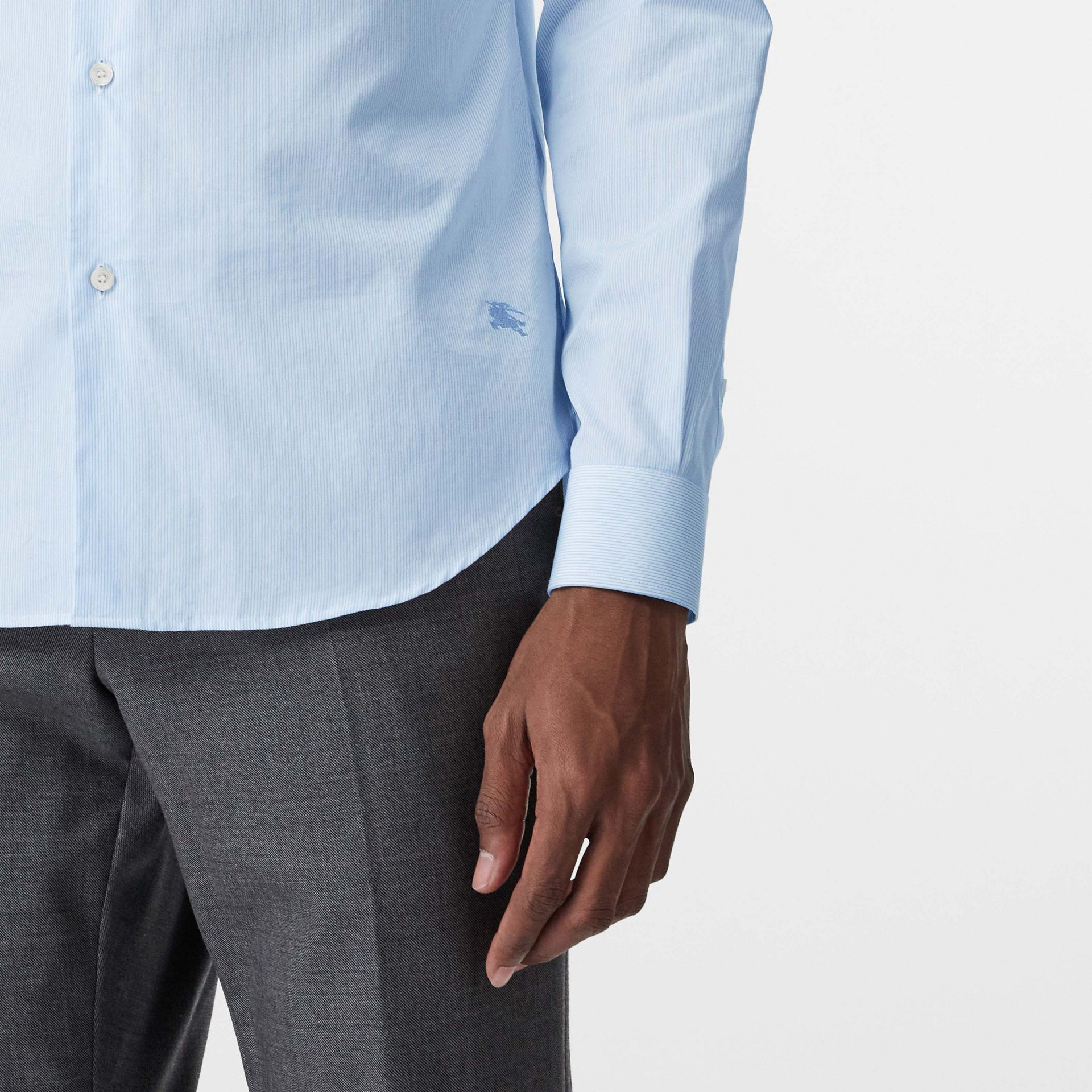 Slim Fit Cotton Poplin Shirt in City Blue - Men | Burberry United States - gallery image 1