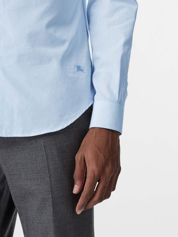 Slim Fit Cotton Poplin Shirt in City Blue - Men | Burberry United States - cell image 1