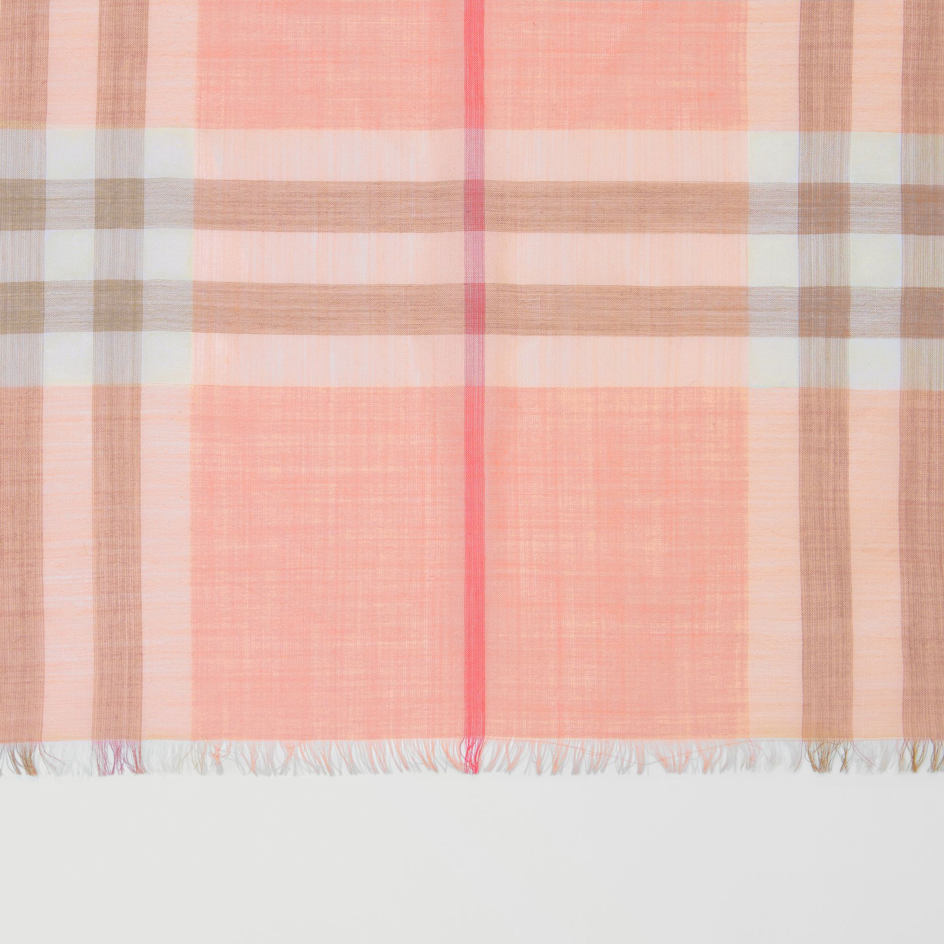 Lightweight Check Wool Silk Scarf in Pink Peach | Burberry United Kingdom - gallery image 1