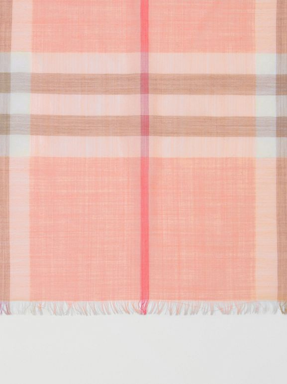 Lightweight Check Wool Silk Scarf in Pink Peach | Burberry United Kingdom - cell image 1