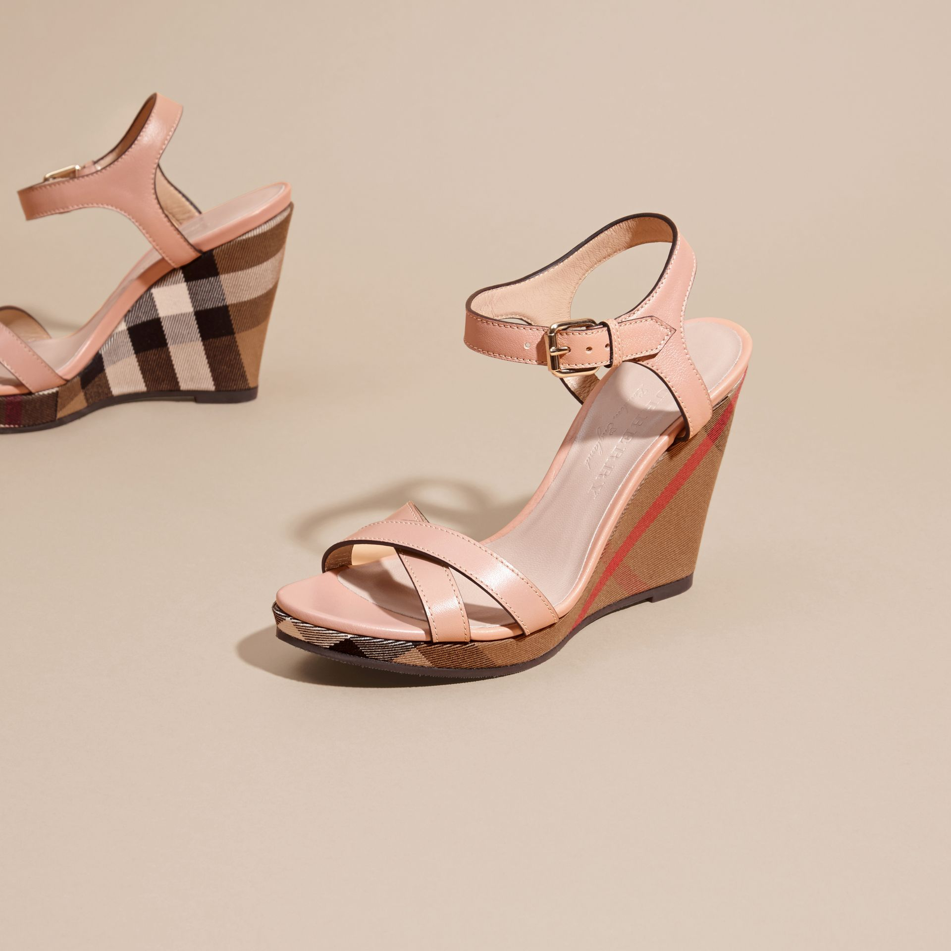 Nude blush House Check Detail Leather Wedge Sandals - gallery image 3