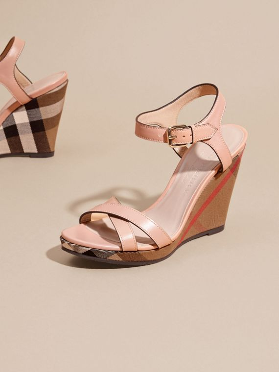 House Check Detail Leather Wedge Sandals in Nude Blush - Women | Burberry - cell image 2