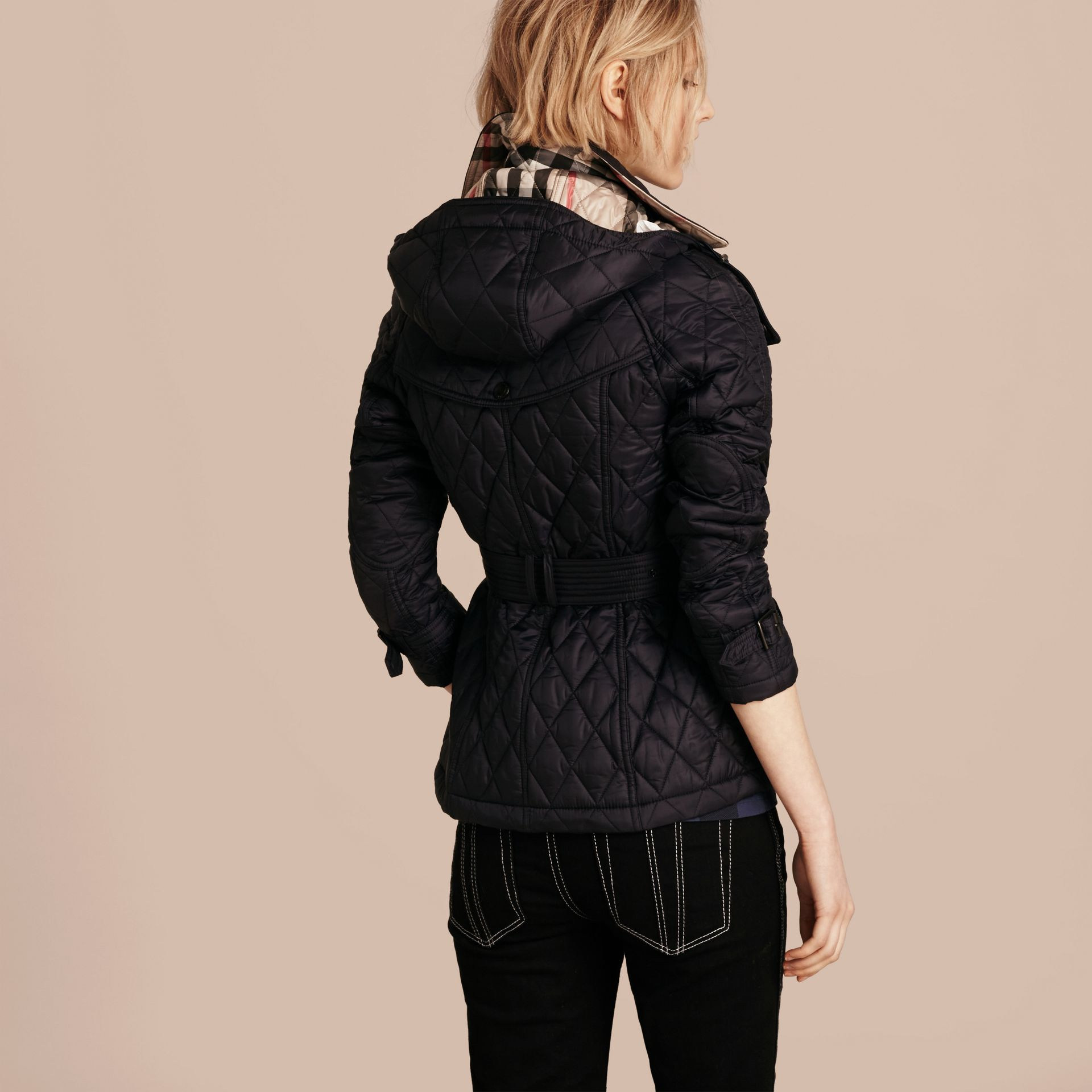 Quilted Trench Jacket with Detachable Hood in Ink - gallery image 3
