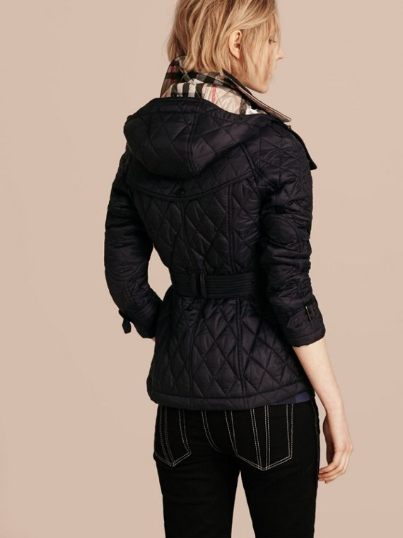 Quilted Trench Jacket with Detachable Hood in Ink - cell image 2