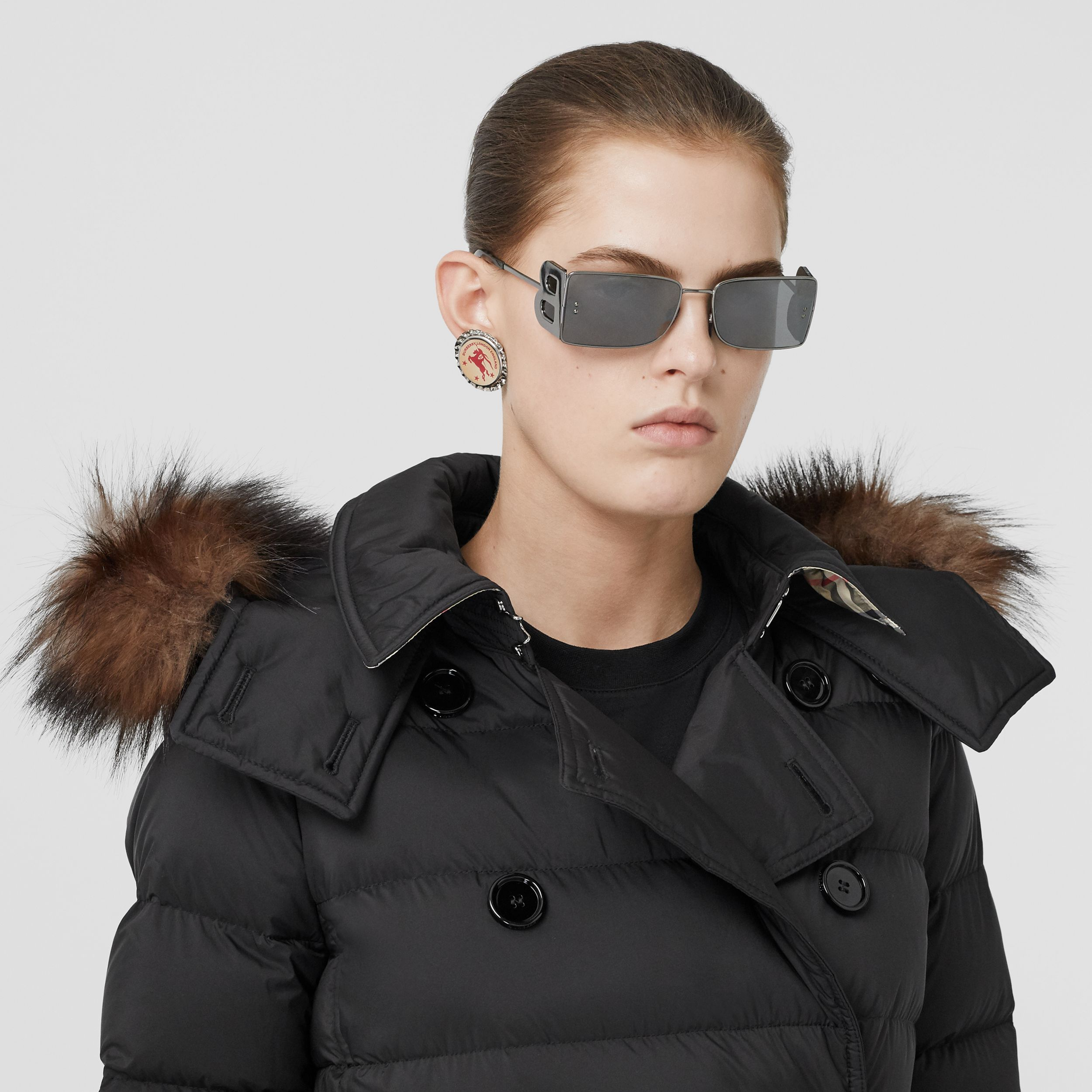 Detachable Hood Down-filled Coat in Black - Women | Burberry - 2