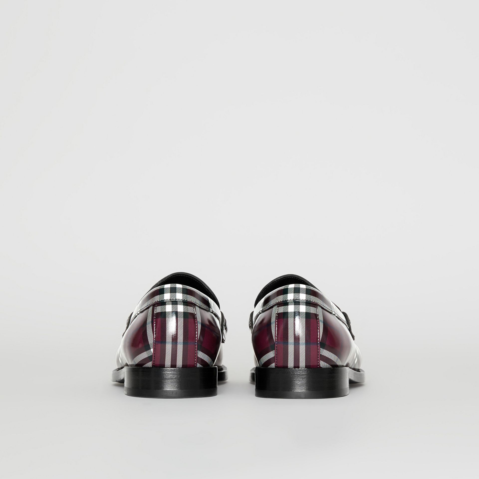 Gosha x Burberry Check Leather Loafers in Claret - Men | Burberry - gallery image 5