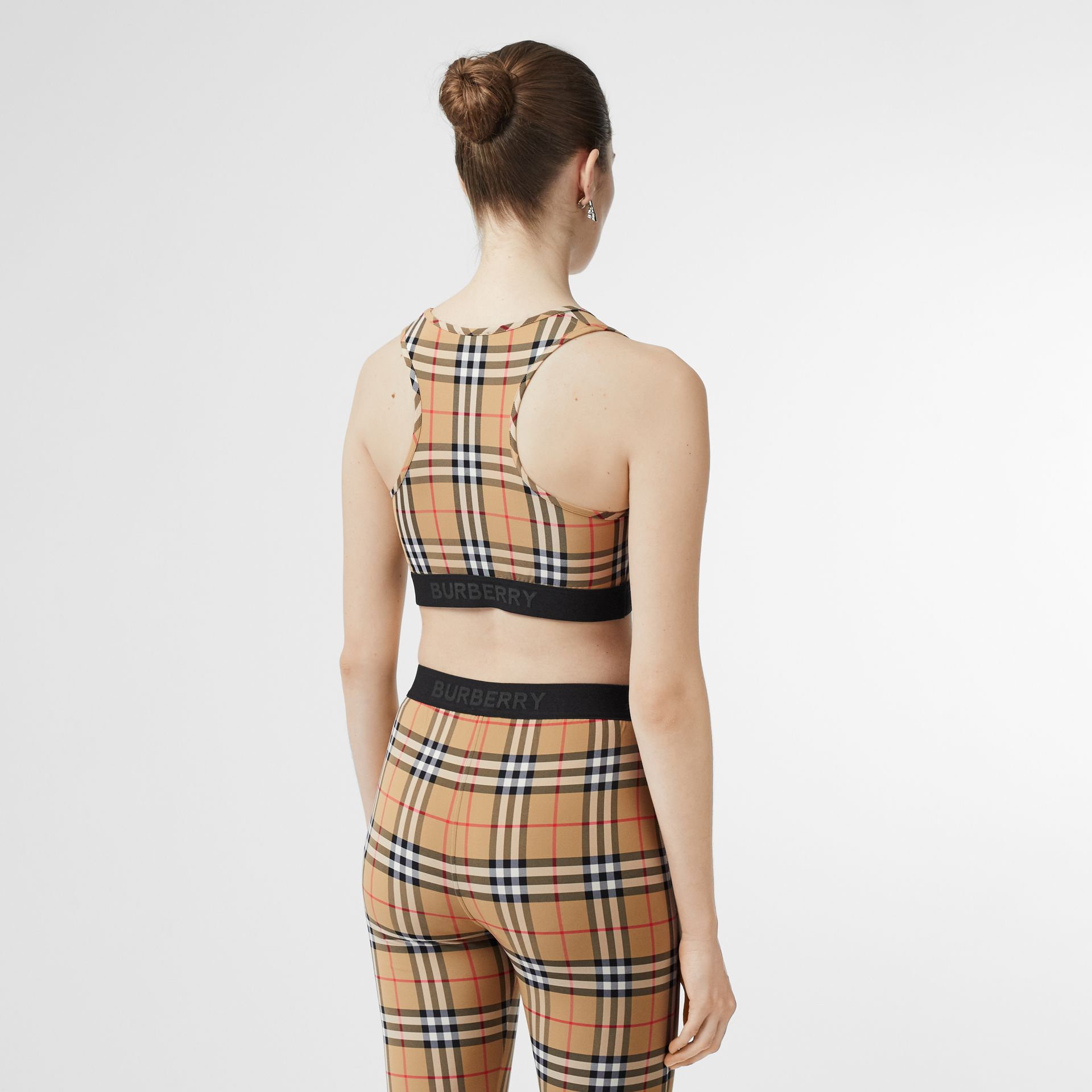 Logo Detail Vintage Check Bra Top in Antique Yellow - Women | Burberry Australia - gallery image 2