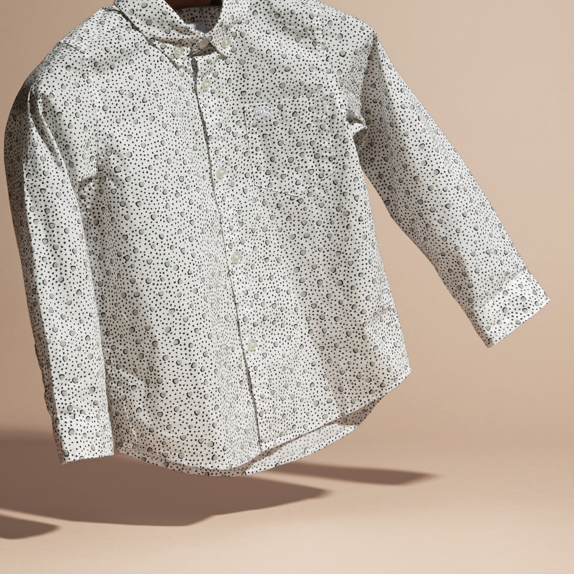 White Painterly Spot Print Cotton Shirt White - gallery image 3