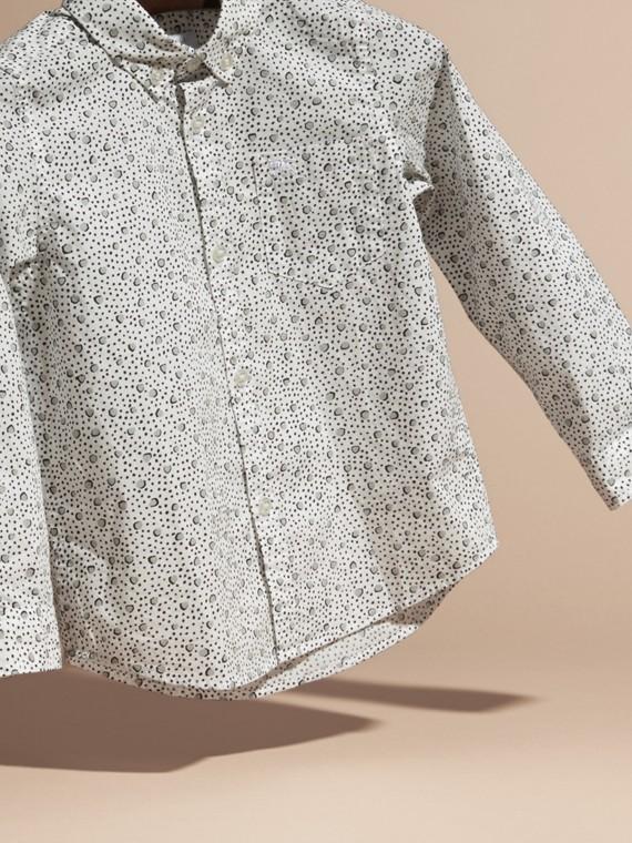 Branco Camisa de algodão com estampa de poás Branco - cell image 2