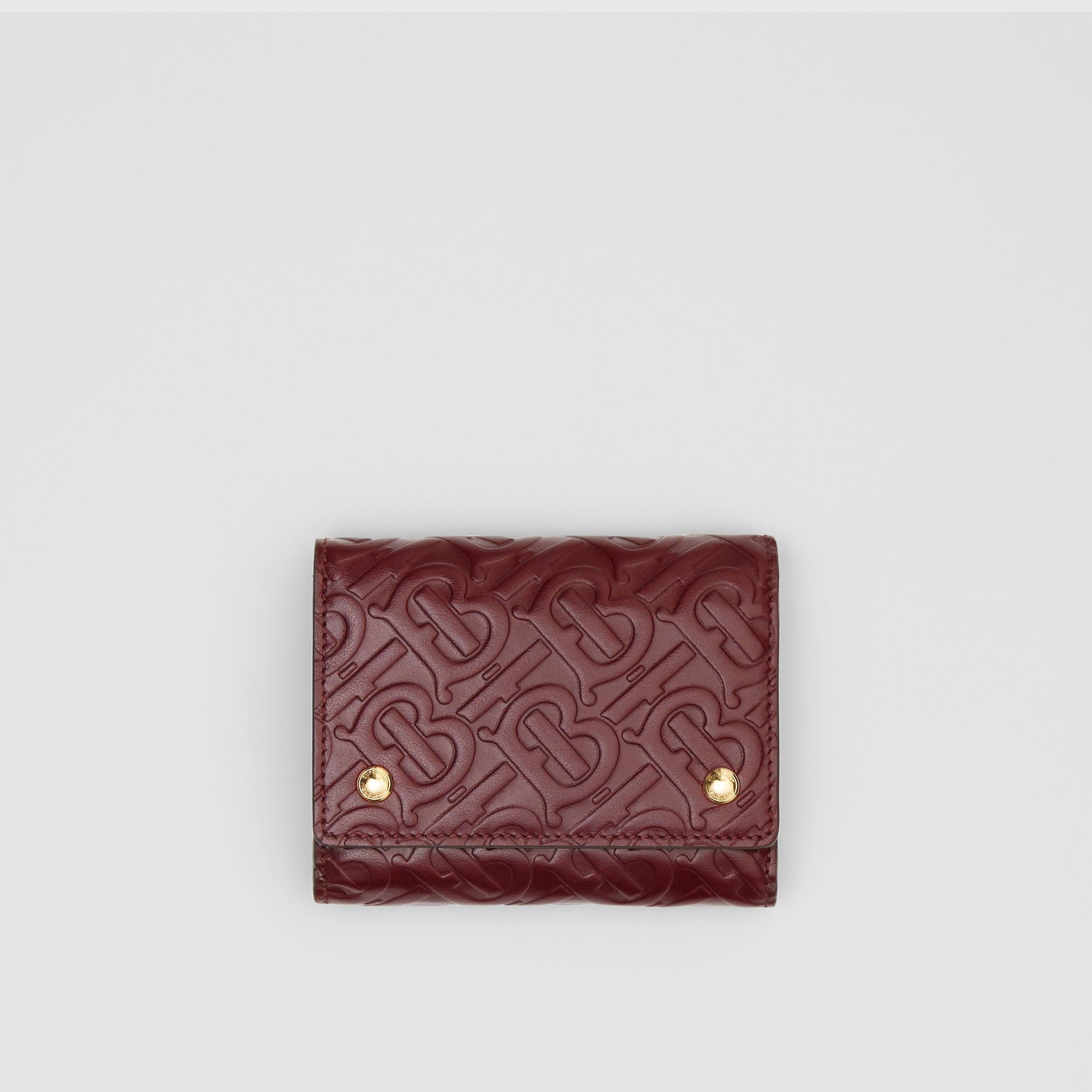 Small Monogram Leather Folding Wallet in Oxblood - Women | Burberry - gallery image 0