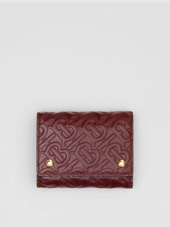 Small Monogram Leather Folding Wallet in Oxblood