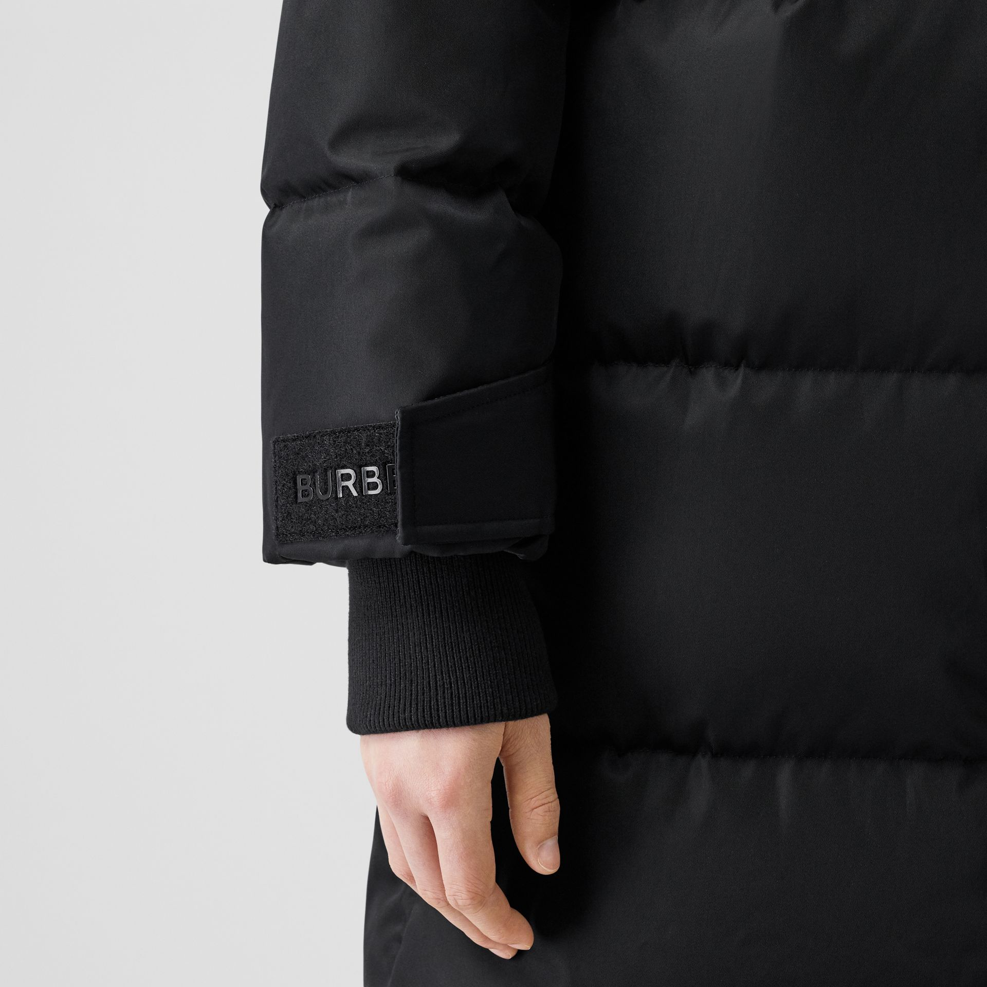 Logo Detail ECONYL® Puffer Coat in Black/orange - Women | Burberry Canada - gallery image 4