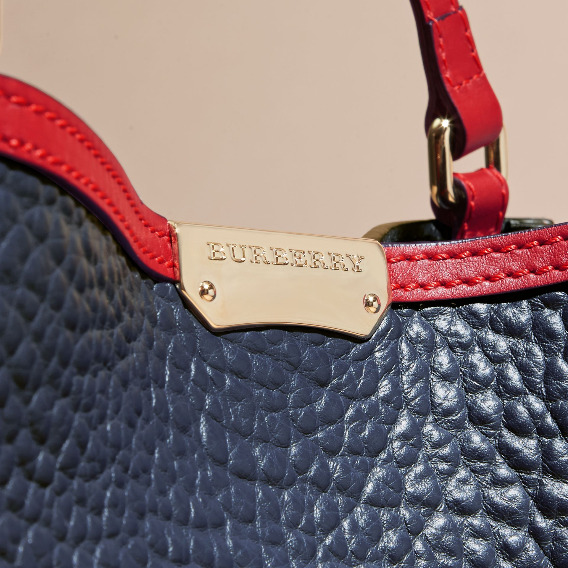 Blue carbon/parade red The Small Canter in Grainy Leather - gallery image 2