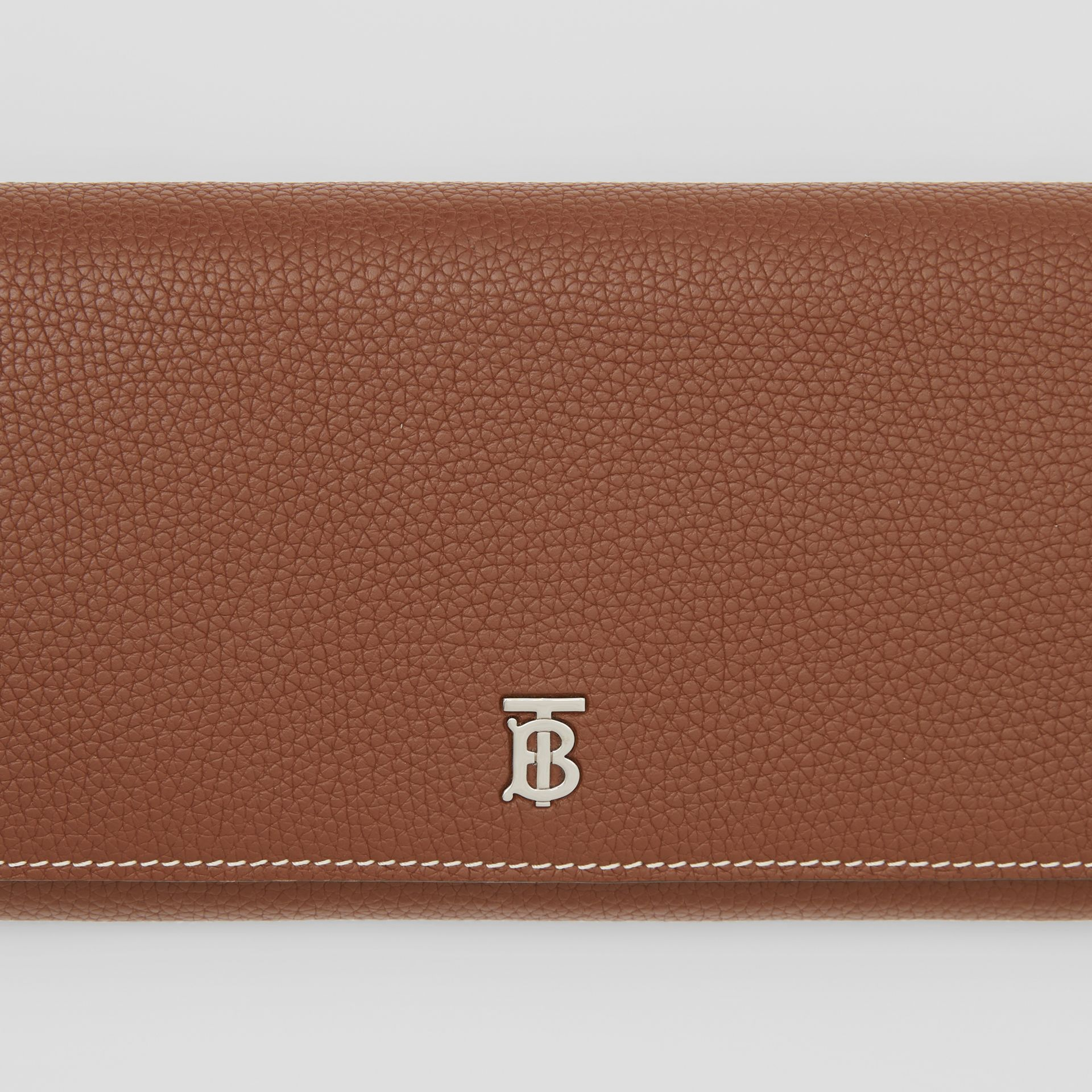 Grainy Leather Wallet with Detachable Strap in Tan | Burberry United Kingdom - gallery image 1