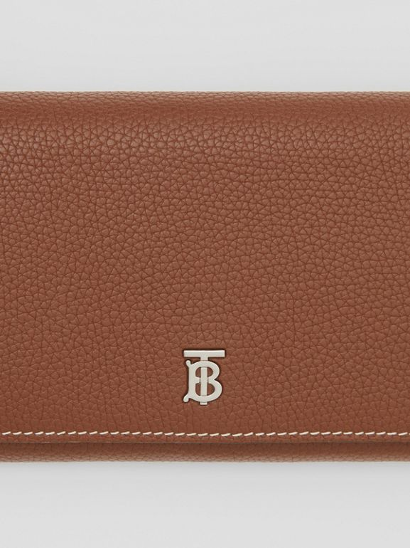 Grainy Leather Wallet with Detachable Strap in Tan | Burberry United Kingdom - cell image 1
