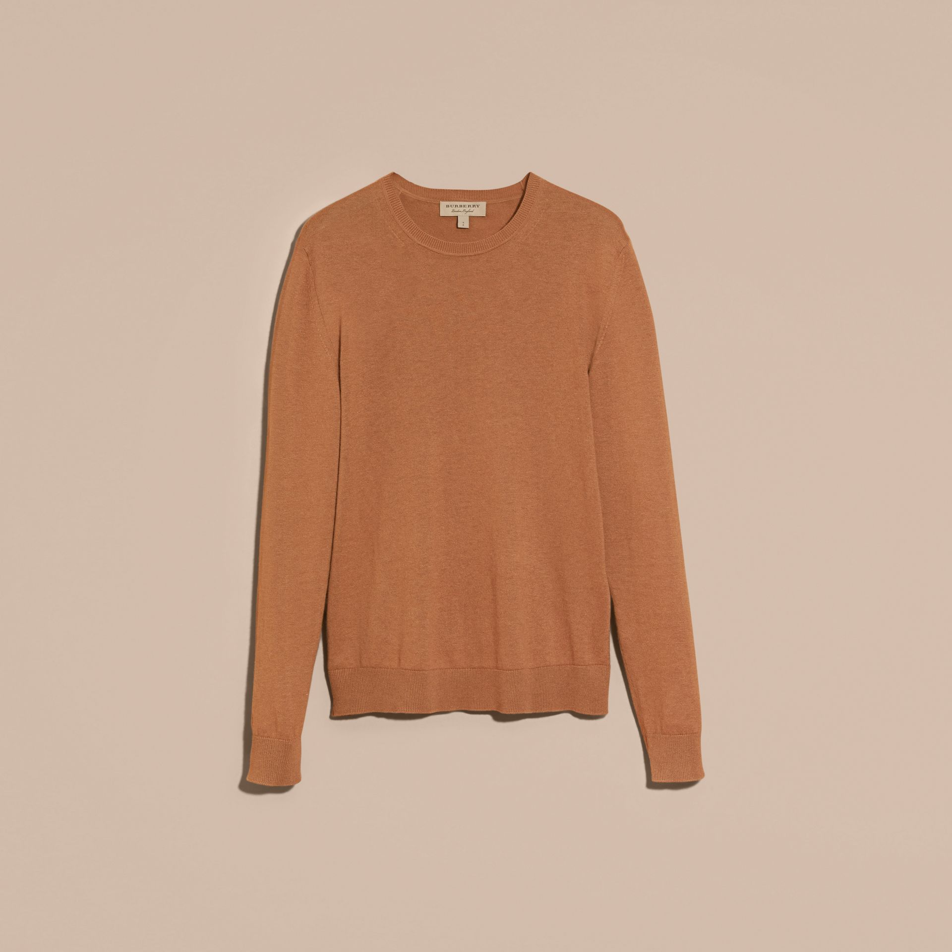 Check Trim Cashmere Cotton Sweater Camel - gallery image 4
